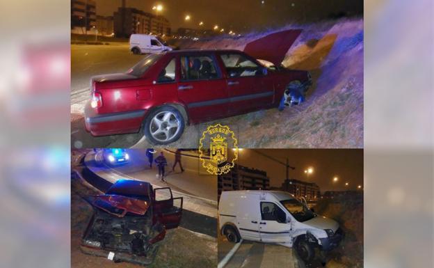Los vehículos quedaron seriamente dañados/Policía Local de Burgos