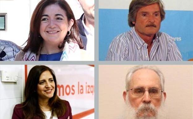 En la parte superior, Sandra Moneo y Jaime Mateu, los cabezas de lista del PP por Burgos al Congreso. En la parte inferior, Esther Peña y Agustín Zamarrón, candidatos socialistas al Congreso por Burgos. /BC