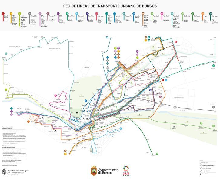 Así quedará el nuevo mapa de líneas de los autobuses urbanos de Burgos